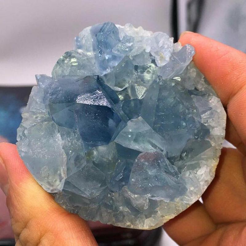 1Pc Natural Blue Crystal Cave Quartz Celestite Crystal Specimen Cluster Specimen Healing Blue Crystal Cave 50/100g