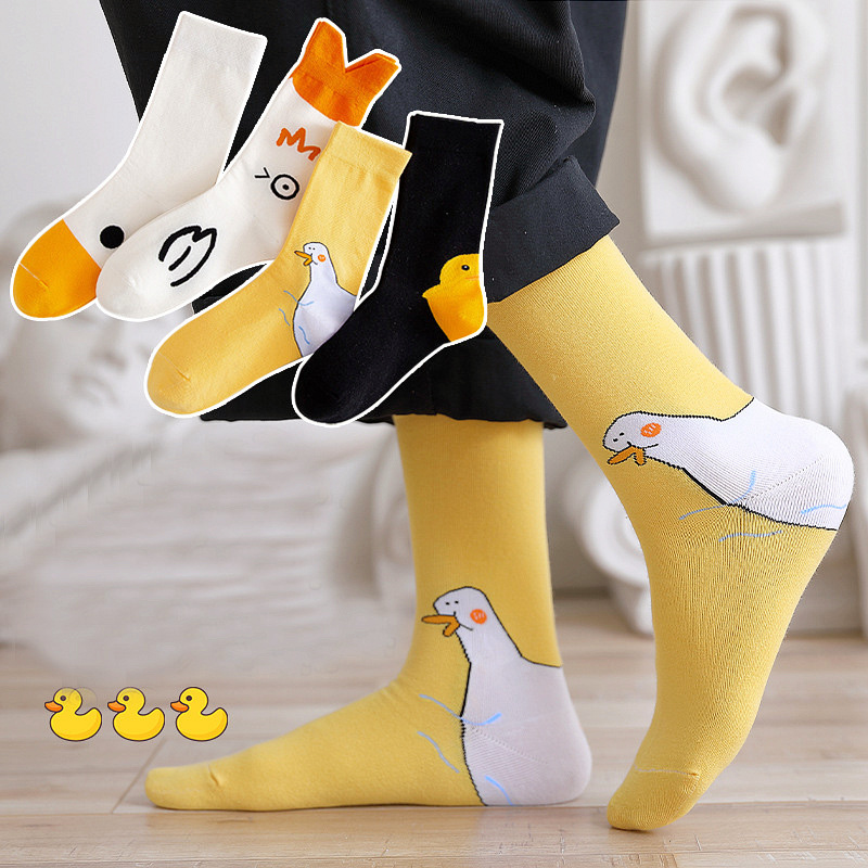 Dreamlikelin Spring Autumn Fashion Woman Funny Duck Print Cotton Socks Female Streetwear Kawaii Cartoon Sock
