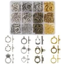 Pandahall formas misturadas estilo tibetano liga toggle fechos para fazer jóias diy cor mista 120 sets/box