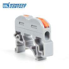 10Pcs 222 211 Quick Fast Compact Plug Splicing Conductor With Feet Wire Electrical Cable Connector DIN Rail Terminal Block