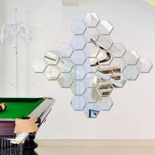 12 unids/set espejo creativo Hexagonal 3D pegatinas de pared pasillo personalidad DIY espejo decorativo pegar Adhesivo de pared de Casa suministros(China)