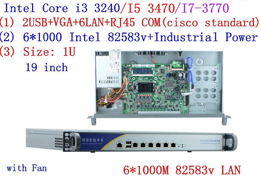 Inte I5 3470 3.2GHZ 1U Firewall Server Router With 6*intel 1000M 82583V Gigabit LAN Support ROS RouterOS Mikrotik 8G RAM 16G SSD
