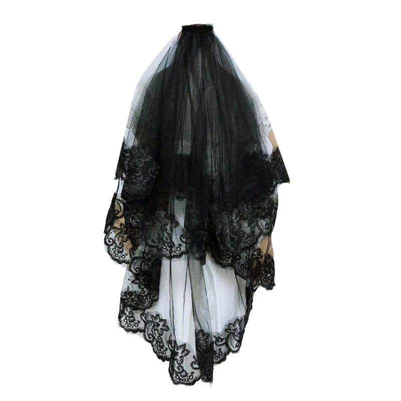 Um-camada feminino menina preto mantilla casamento véu bordado floral rendas guarnição halloween cosplay traje puro acessórios de cabelo