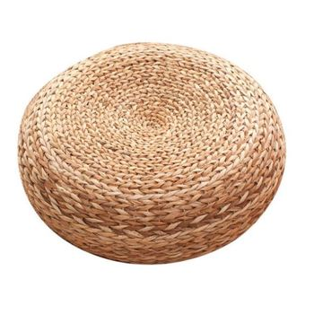 Furniture Rush Grass Footstool Round Rattan Stool Solid wood round stool creative home change shoes stool