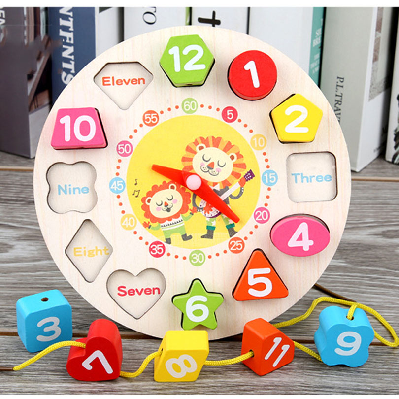 Educational Toy Baby Wooden Toys Colorful 12 Numbers Clock Toy Digital Geometry Cognitive Matching Clock Toy Kids Early Puzzles