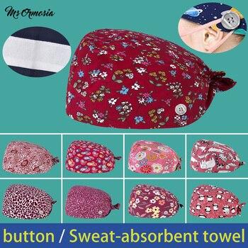 wholesale unisex with buttons cotton cartoon printing scrub hat lab beauty salon work hats summer breathable bandage scrub caps lab series invigorating face scrub