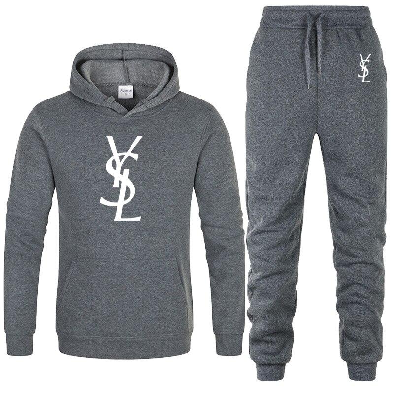 HOT Autumn 2 Pieces Sets Tracksuit Hooded Sweatshirt+pants set Pullover Hoodie Sportwear Suit Casual men Clothing