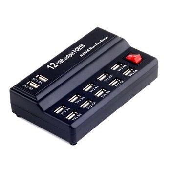 Alta Velocidad 12 puertos USB HUB AC a DC Power Socket USB hubs estación de carga cargador de viaje para teléfonos Pad Tablet