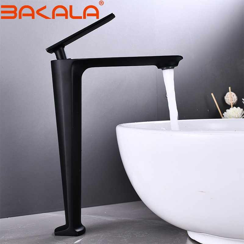 BAKALA Black/White Tall Basin Faucet Modern Bathroom Faucet Painted Brass Single Handle Single Hole Hot and Cold Faucet Deck