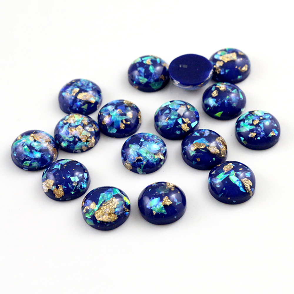 New Fashion 40pcs 12mm Dark Blue Colors Built-in Metal Foil Flat Back Resin Cabochons Cameo-Z5-30