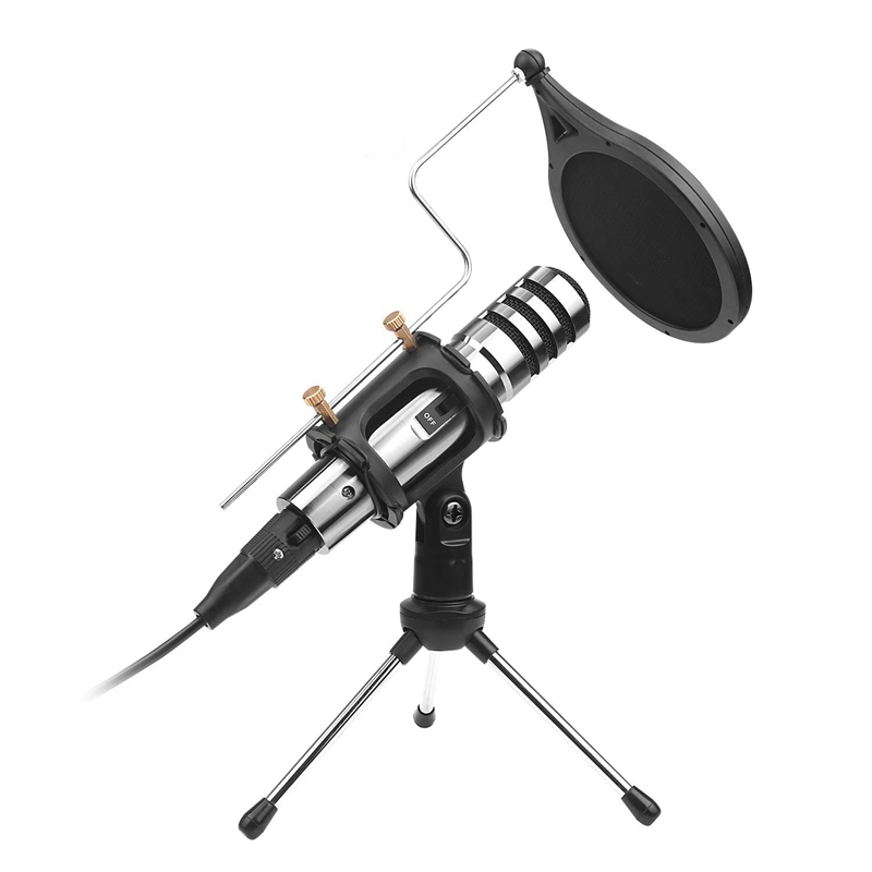 AMS-Condenser Microphone,3.5Mm Studio Recording Broadcast Computer Microphone With Tripod Stand For Karaoke,Gaming,Podcast,Video