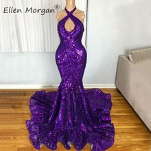 Purple Mermaid Long Prom Dresses 2020 Sexy Halter Backless Sparkling Sequined Real Photos Party Gowns for African Black Girls