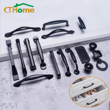 Американский современный стиль черные ручки шкафа Твердый алюминиевый сплав кухонный шкаф ручки для выдвижных ящиков оборудование для обработки мебели