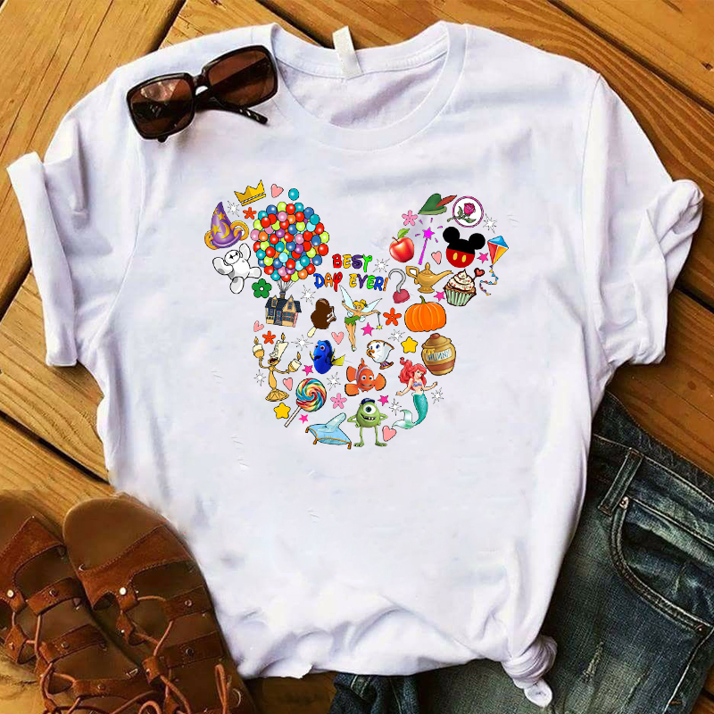 T-Shirt Graphic Women's Fashion Ear Best Day Ever Tshirt Cartoon Top Female Cute Print Harajuku Ladies Tee Shirt Women Korean