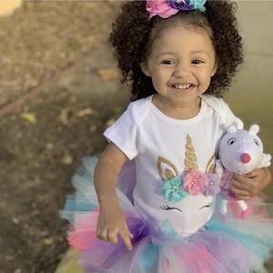 Детская одежда для девочек, одежда, радужные платья с единорогом на 1-й день рождения, платье-пачка, милое вечернее платье принцессы, платье для малышей