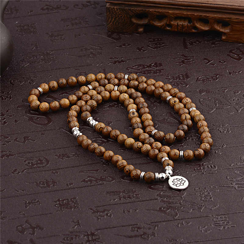 Multilayer 108 Manik-manik Kayu Lotus Om Gelang Buddha Tibet Mala Buddha Pesona Rosario Gelang Yoga Kayu untuk Wanita Pria Perhiasan