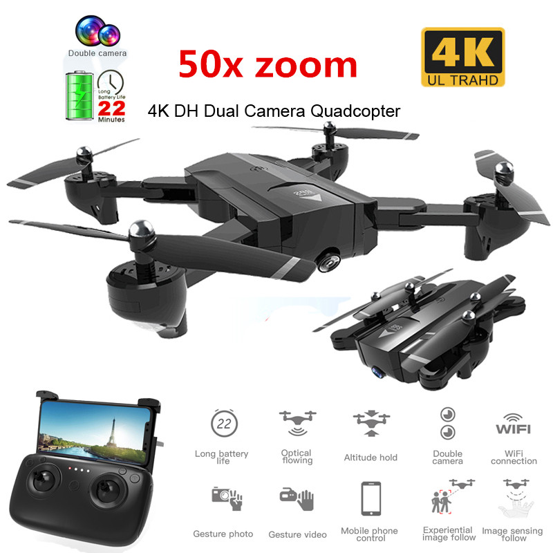 New Wifi RC Drone with 4K 1080P HD Dual Camera GPS Follow Me 50x zoom Quadrocopter FPV Professional Drone <font><b>Toy</b></font> For Kids image