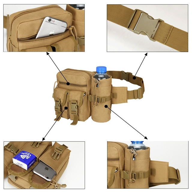 Tactical Men Waist Pack Nylon Hiking Water Bottle Phone Pouch Outdoor Sports Army Military Hunting Climbing Camping Belt Bag 6
