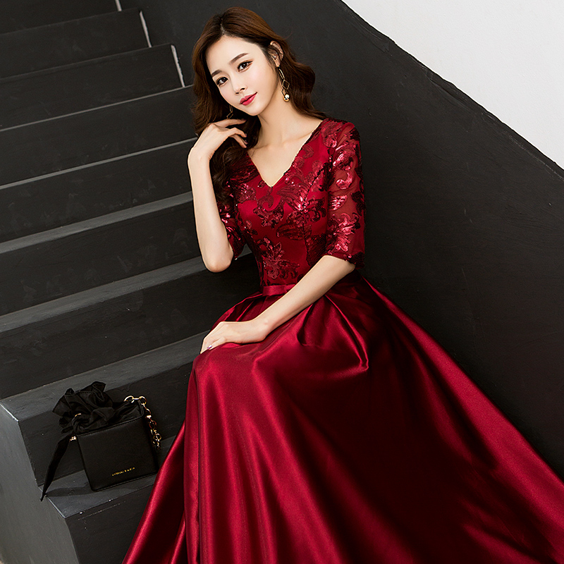 Image 2 - New Arrival 5 Colors Evening Dresses Beauty Emily Elegant V Neck 