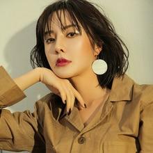 New Simple Round Natural Shell Drop Earrings For Women Trendy Fashion Jewelry Shopping Street Korean Earrings Dangle Earrring fashion sweet shell round dangle earrings