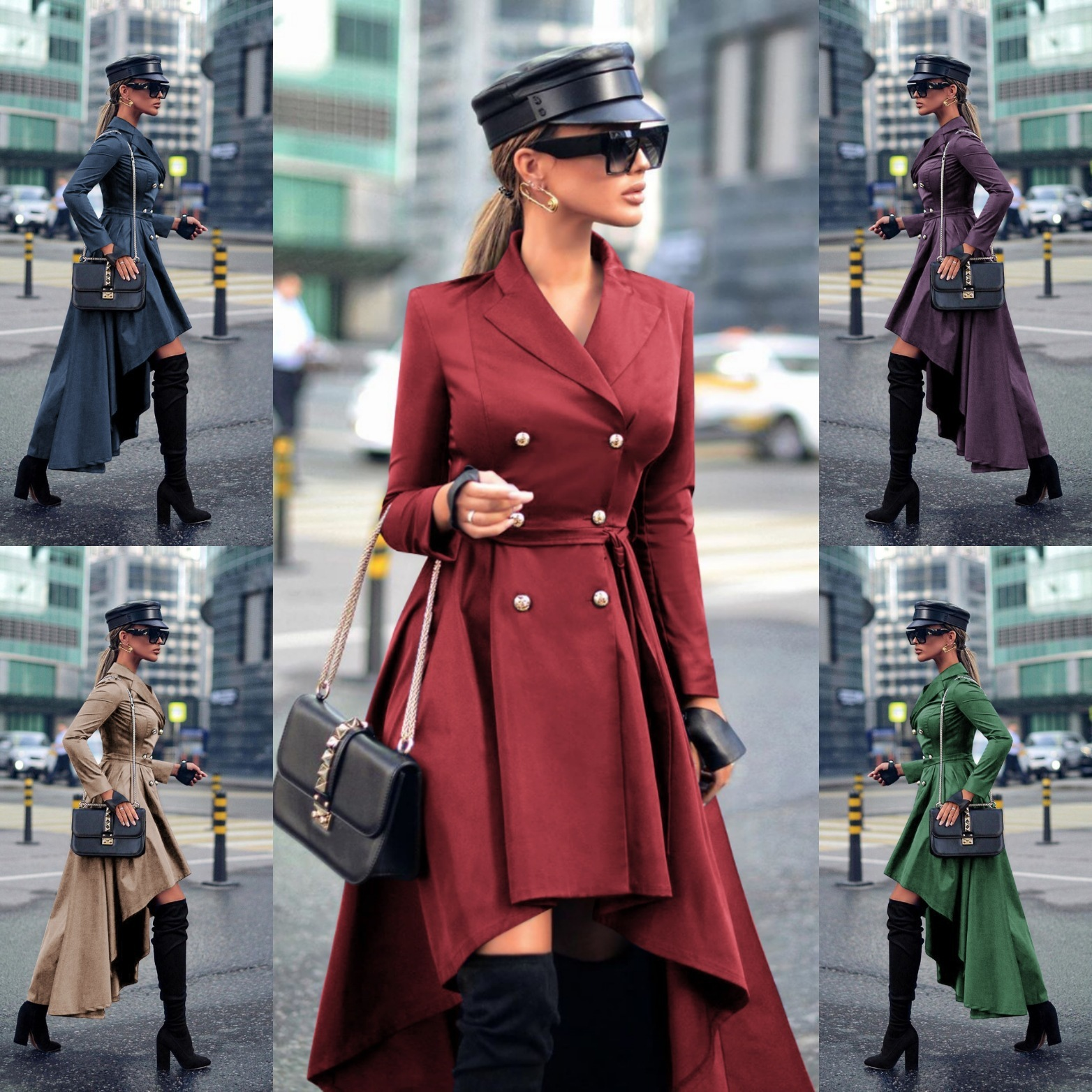 High Low Women Plus Size Dresses Solid Burgundy Khaki Double Breasted Suit Jacket Designer Ladies Blazer Dress Work Wear Tops