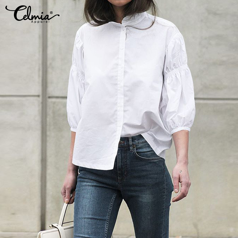Women White Shirts Fashion Ruffles Blouses Celmia 2019 Summer Tops Plus Size Lantern Sleeve Casual Buttons Loose Blusas Mujer 7
