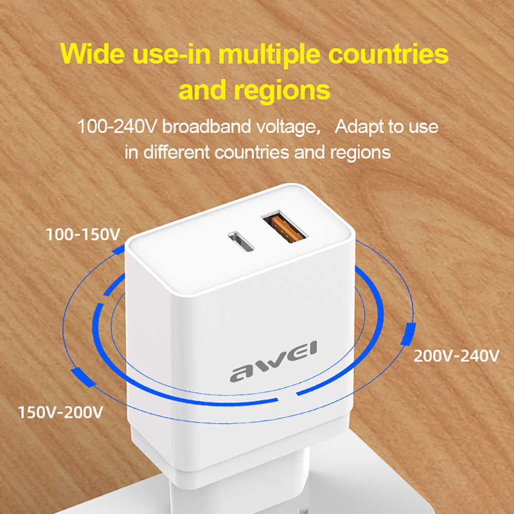 Tai Nghe Awei C-980 PD 3.0 QC 3.0 Bộ Sạc 18W USB Adapter Điện Thoại EU Cắm Sạc Nhanh Cho Xiaomi Samsung iPhone 7