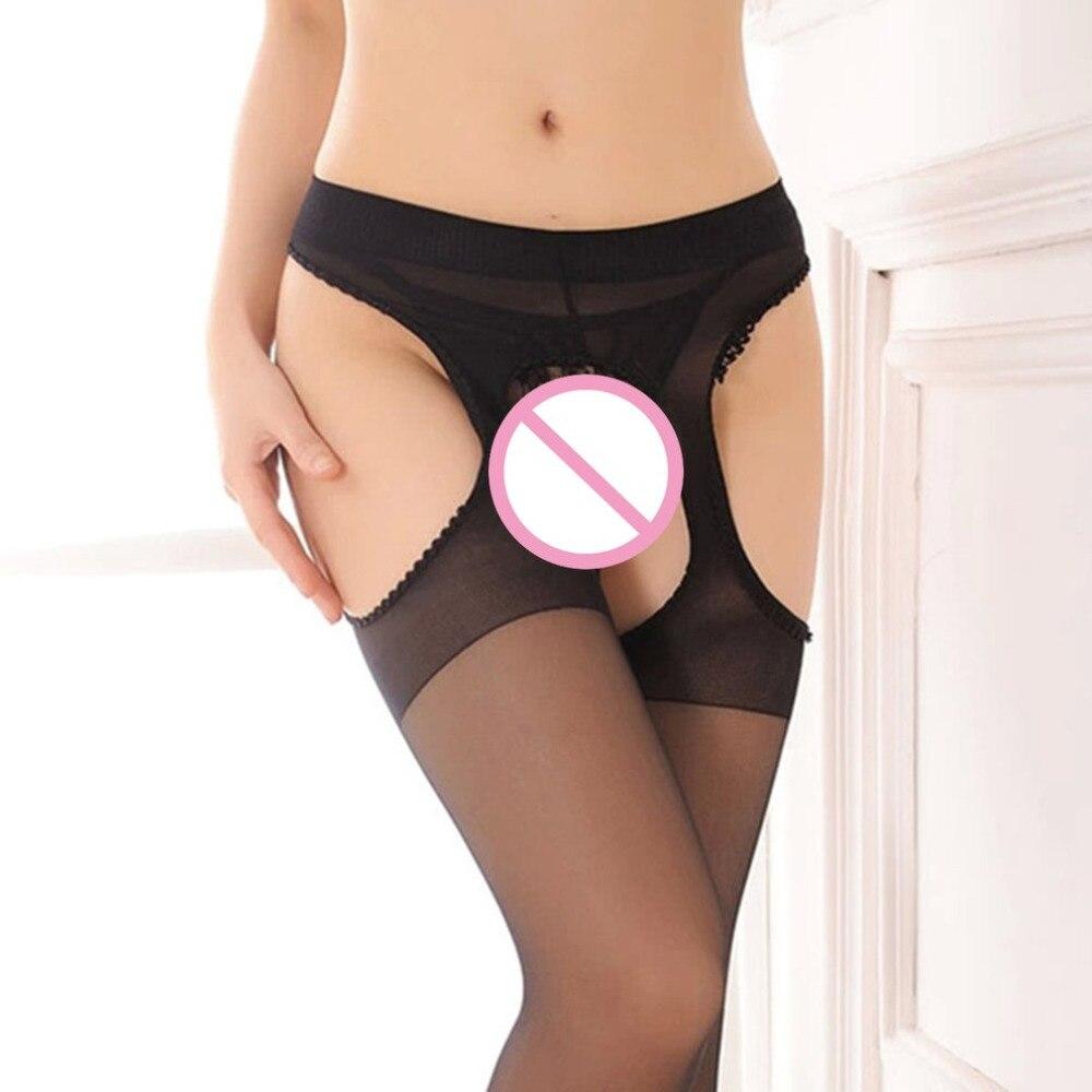 Female Erotic Stocking Four Sides Open Crotch Ladies Elastic Black Hosiery Sexy Women Seamless Crotchless Temptation Pantyhose