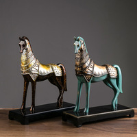 Creative New Chinese Imitation Bronze Horse Horse Resin Sculpture Decoration Home Villa Bar Desk Decoration Ornaments