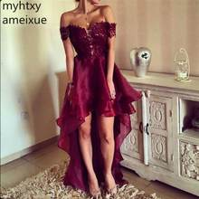 2019 Unique Burgundy Asymmetrical Red Sexy Cheap Prom Dress Elegant High Low South Evening Party Gown Plus Size Prom Custom Made(China)