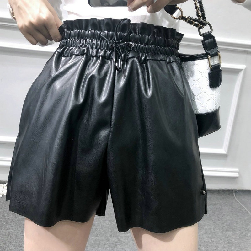 2020 New Women Casual Black Loose PU Faux Leather High Elastic Waist Wide Leg Shorts Lady High Quality Autumn Winter Short Pants