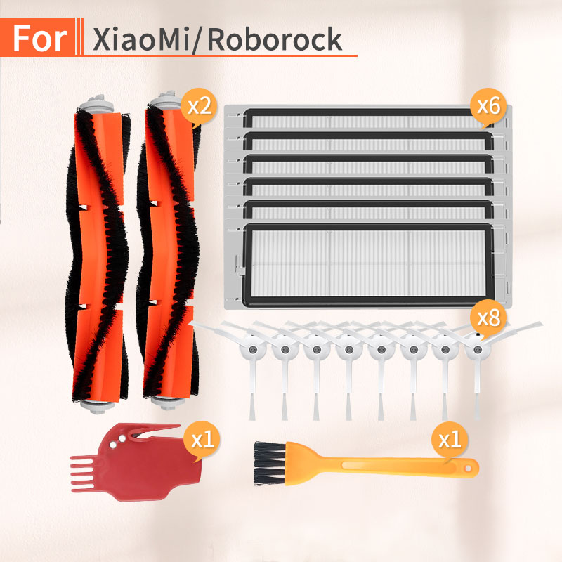 Vacuum Cleaner Side Brush Main Brush Filter Accessories For Xiaomi Mijia 1 2 Roborock S6 S50 S55 Robot Vacuum Cleaner Parts