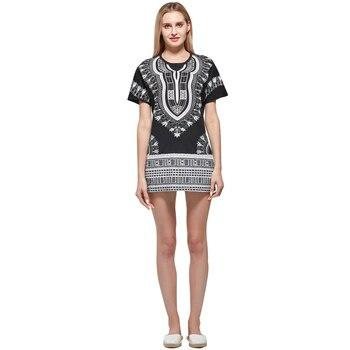 цена Boho Tops  Unisex Black Ethnic Vintage Tribal African Dashiki Print Top Shirt Cotton T-Shirt онлайн в 2017 году
