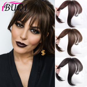 BUQI Fashion Women Fake Synthetic Bangs Hair Extensions False Fringe Clip On Hair Claws Brown Black High Temperature Fiber