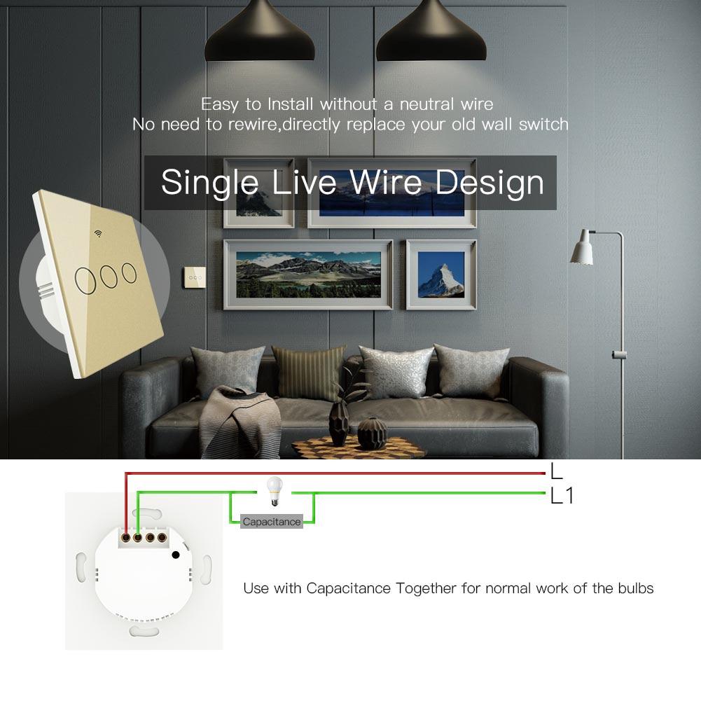 Ouro wifi interruptor de parede inteligente sem