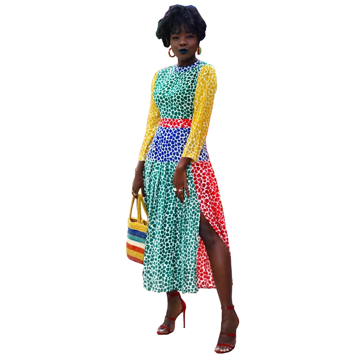 African Dresses For Women 2020 Office Lady Plus Size Women Dress Dot Print Full Sleeve Ladies Party Midi Dress Vestidos