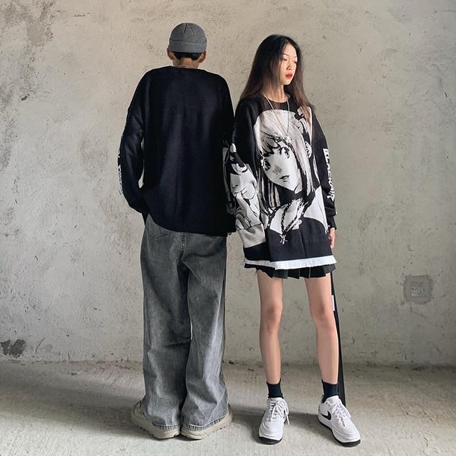 Mens Hip Hop Streetwear Harajuku hoodies Vintage Retro Japanese Style Anime Girl Printed Sweater 2021 Autumn polyester Pullover 2