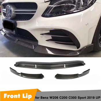 Carbon Fiber / ABS W206 Front Bumper Diffuser Lip for Mearcedes-Benz C Class C200 C300 For Brabus Body Kit 2019UP image