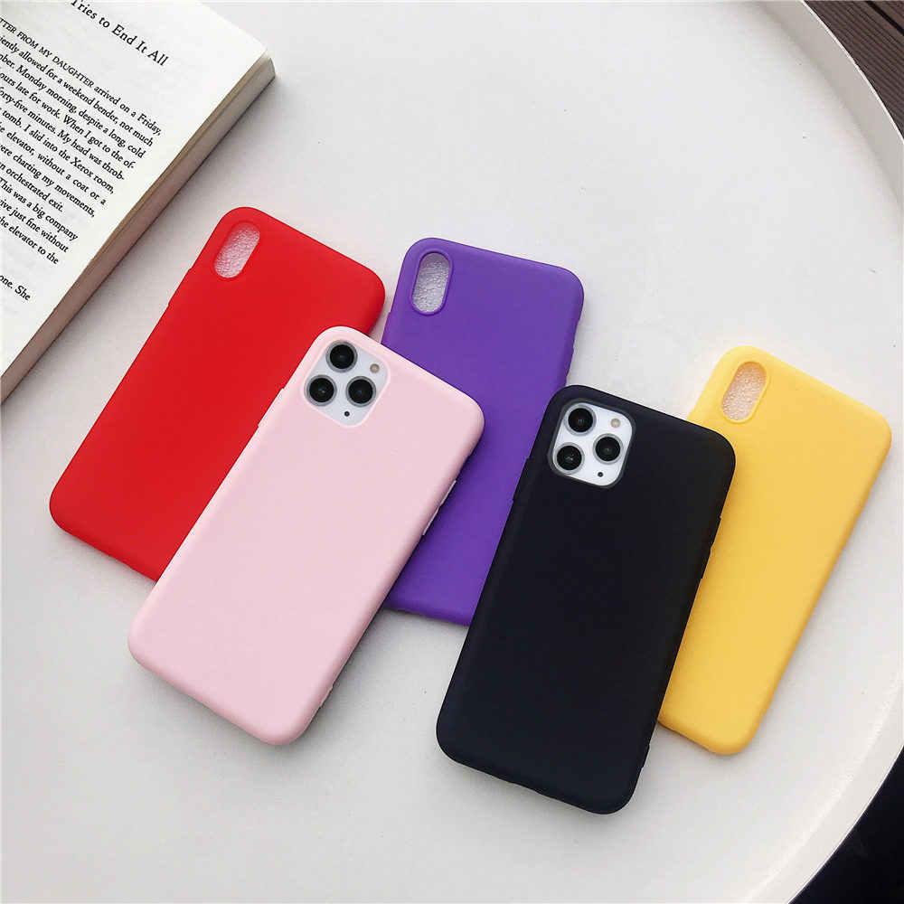 ซิลิโคนโทรศัพท์กรณีสำหรับ iPhone 11 Pro X XR XS MAX 7 8 6 6 S PLUS 5 5 S SE 2020 สี Candy Soft สำหรับ iPhone 11