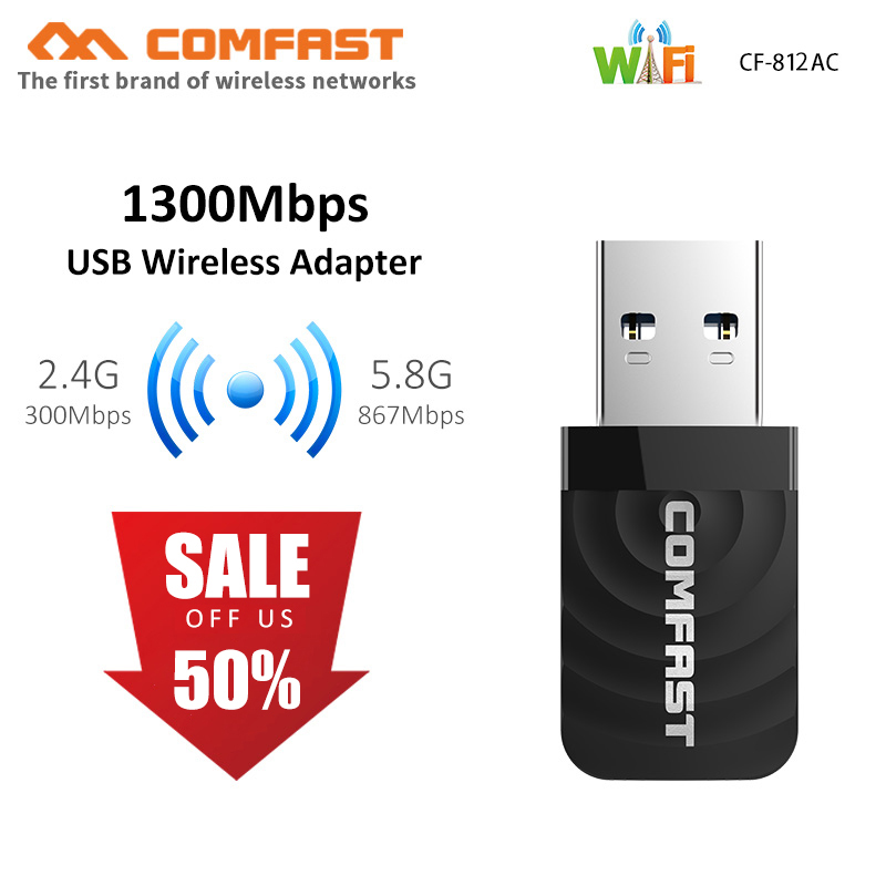 1300Mbps Mini USB Wifi Adapter Wifi Network Card Dual Band 2.4G/5.8G Wireless AC wifi Adapter for Windows XP/Vista/7/8/10 Mac OS(China)