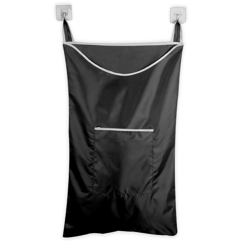 Practical Boutique Space Saving Hanging Laundry Hamper Bag With Free Door Hooks(Black)
