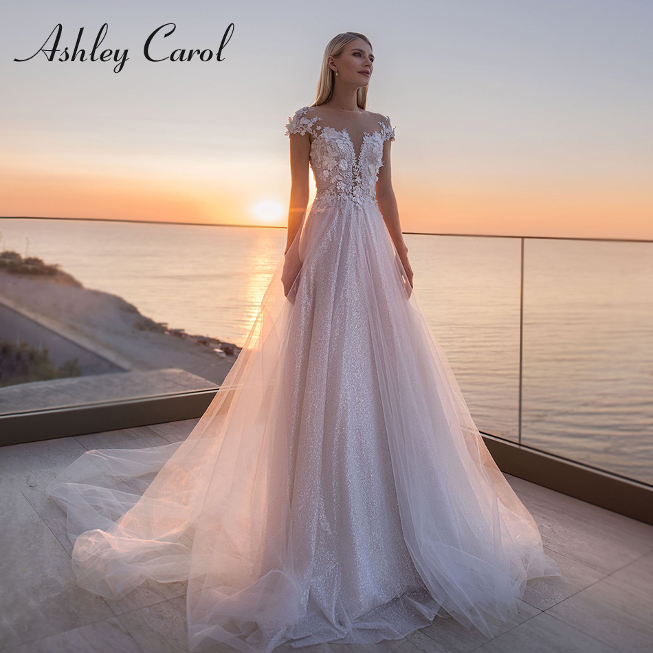 Ashley Carol Sparkling Tulle Wedding Dress 2020 Short 3D Flowers Beach A-Line Bride Dresses Boho Wedding Gowns Vestido De Novia