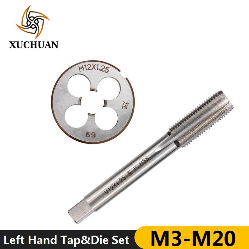 2pcs Left Hand Tap And Die Set HSS Machine Plug Tap Die Metric Screw Thread Tap Drill M3/M6/M8/M10/M12/M14/M16/M18/M20