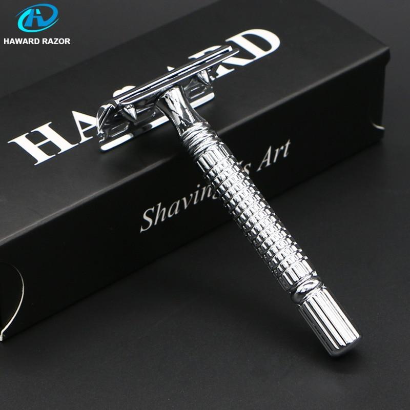 HAWARD Razor Men's Double Edge Safety Razor Classic Shaving Razor Stainless Steel Manual Shaver Hair Removal Shaver 10 Blades