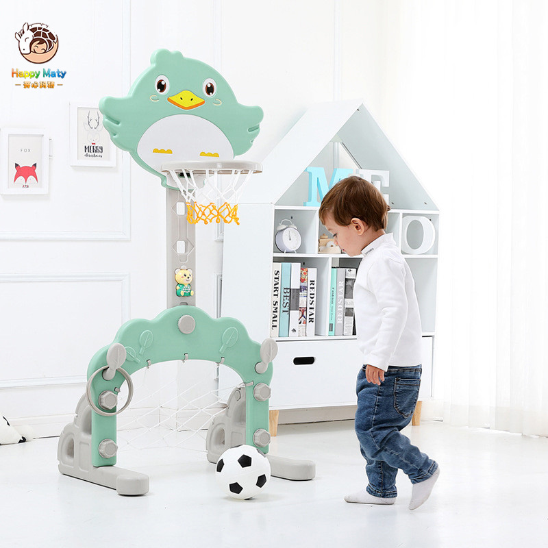 Happymaty Baby Basketball Stand Toys Can Lift Indoor Outdoor Football Basketball Kindergarten Shooting Toys For Children
