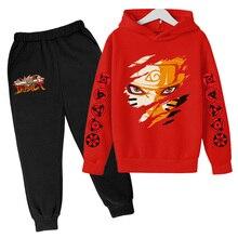 Naruto Streetwear Tracksuit 2 Pieces Sets boy Jogging Sweatshirt Hoodies +Sweatpants Fleece Suit boy girl Long sleeve Pullover