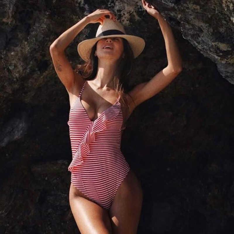 2019 Sexy femme rétro col en V bleu rayé maillot de bain une pièce ébouriffé Push Up rembourré taille haute maillots de bain femmes Monokini