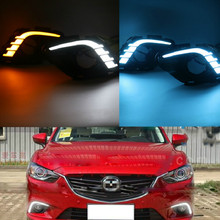 цена на Turning Signal & Dimming style relay 12V LED car DRL daytime running lights with fog lamp hole for Mazda 6 Atenza 2013 2014 2015