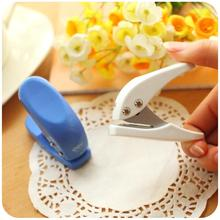 2pcs White Blue color Mini paper puncher 6mm hole scrapbooking punch Stationery Office binding tools School supplies A6749
