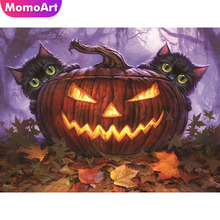 MomoArt Diamond Painting Halloween Mosaic Pumpkin Embroidery Full Square/round Cross Stitch Cat